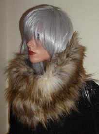 Ginger Wolf Faux Fur Snood Scarf in Long Luxury Fur